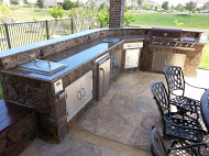 We custom build outdoor kitchens